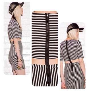 Stripes Cutout Waist Dress with Exposed Back Zipper