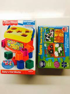 Bundle Sales BN Fisher Price Brilliant Basics Baby's First Block & Orchard Toys Puzzle