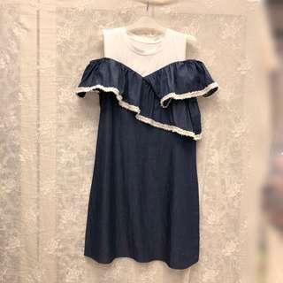 團購KOREA STYLE東大門韓國款荷花設計連衣裙