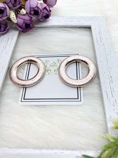🚚 正韓🇰🇷玫瑰金屬紋路簡約時尚圓形耳環