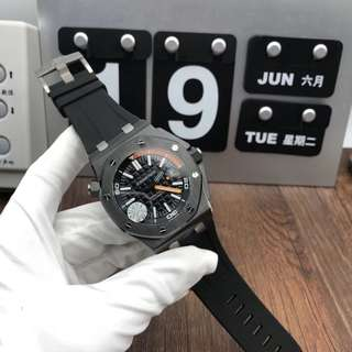 Audemars Piguet Royal Oak Offshore Diver 15707 Real Ceramic Case Black Dial on Black Rubber Strap