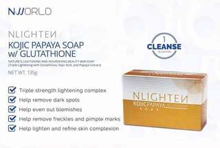 Nlightened soap,kojic with papaya and glutathione for whitening skin and soft and moisture