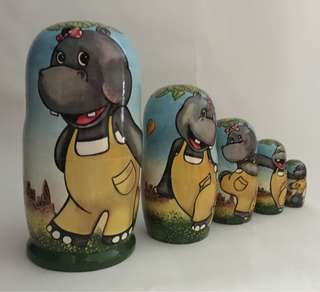 🚚 Nesting doll Hippo. 5dolls set