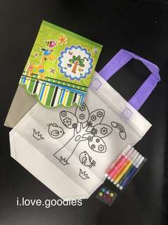 Coloring hand carry bag (tropical tree) - children DIY coloring, handicrafts project, goodies bag, goody bag gift