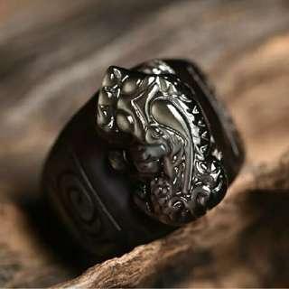 黑矅石貔貅戒指。19 20 21mm 内徑180元