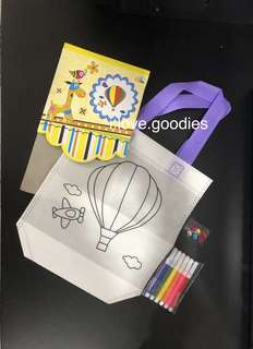 Hot air balloon hand carry bag (DIY coloring) - kids handicrafts, party activity, goodie bags