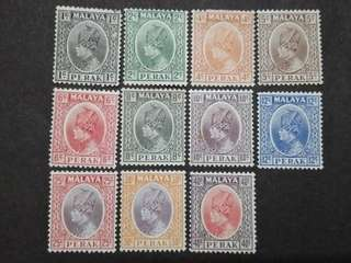 Malaya 1935-37 Sultan Perak Loose Set Up To 40c - 11v Mint Stamps