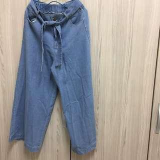 🚚 鈕扣鬆緊褲頭綁帶牛仔寬褲 闊腿褲