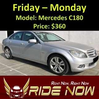 Mercedes C180 Weekend Rental