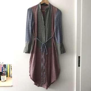 Zara 格紋拼接色塊長上衣