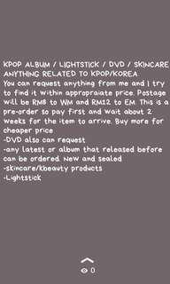 KPOP ALBUM / LIGHTSTICK / DVD / ANYTHING RELATED TO KPOP/KOREA