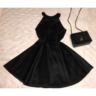 Halter Short Black Party Dress
