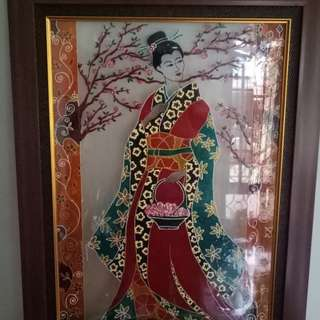 Glass painting Japanese Lady