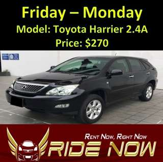 Toyota Harrier 2.4A Weekend Rental