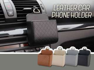 LEATHER CAR PHONE HOLDER - SALE