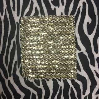Gold and Black Sequin Bandage Mini Skirt