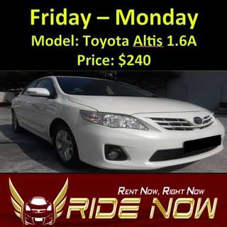 Toyota Altis 1.6A Weekend Rental