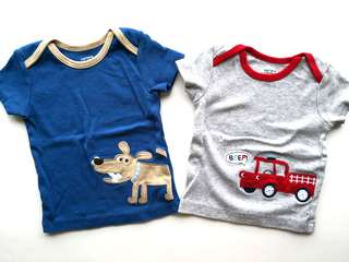 Preloved CARTER Set of 2 Red Fire Truck and Blue Doggie with Bone Baby Tees - in excellent condition