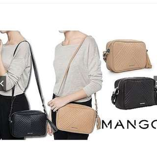 MANGO CHEVRON TASSEL SLING BAG
