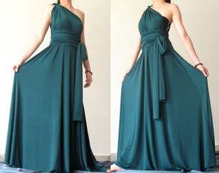 Turquoise green infinity gown