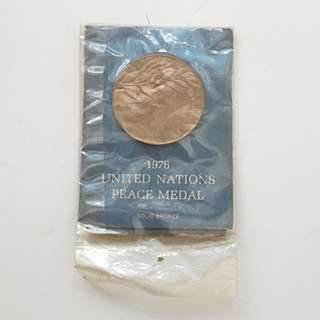 1976 UNITED NATIONS Peace Medal Solid Bronze New in Cover