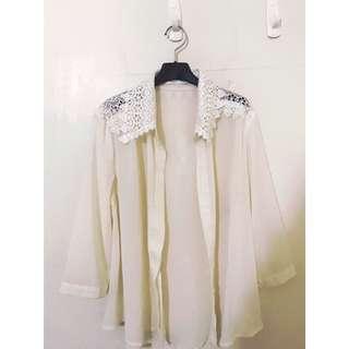 🚚 Queen shop 浪漫精緻蕾絲雕花 雪紡襯衫 春夏的外套罩衫 真的很美很氣質哦!