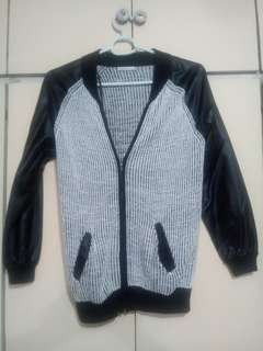 Faux Leather and Knitted Zip-Up Jacket