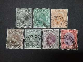 Malaya 1935-37 Sultan Perak Loose Set Up To 25c - 7v Used Stamps