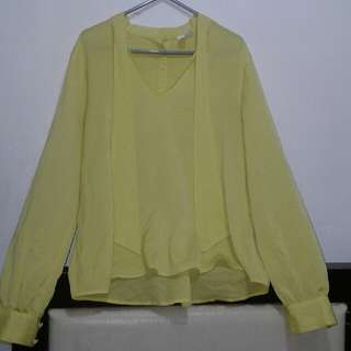 FOREVER 21 YELLOW LONG SLEEVE TOP