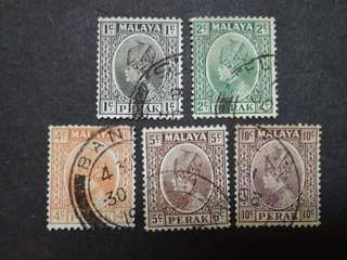 Malaya 1935-37 Sultan Perak Loose Set Up To 10c - 5v Used Stamps