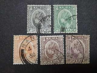 Malaya 1935-37 Sultan Perak Loose Set Up To 10c - 5v Used Stamps