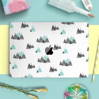 Green Pointy Mountain Macbook Vinyl Decal