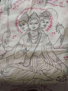 清邁名師阿贊難當 2560年 手繪愛神(印度三神毘濕奴,濕婆,大梵天)符布