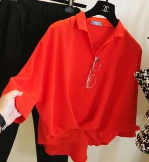 (Ready Stock)Red Blouse