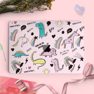 Dinosaur, Unicorn and Rainbows Macbook Vinyl Decal