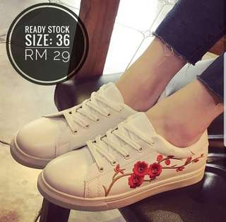 Flower Embroidery Women Sneakers - FREE POSTAGE