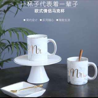 Mr & Mrs Couple Marble Coffee Mug (in stock)