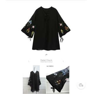 🚚 黑色刺繡雪紡洋裝