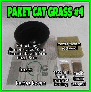 Paket Lengkap #4 Cat Grass/rumput kucing (pot+media tanam+benih cat grass)