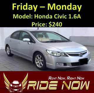 Honda Civic 1.6A Weekend Rental