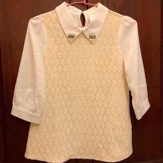 🚚 雪紡七分袖蕾絲襯衫