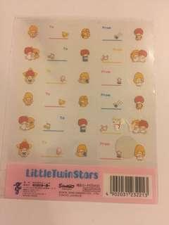 Sanrio little Twin Stars Kiki Lala 貼紙 2000