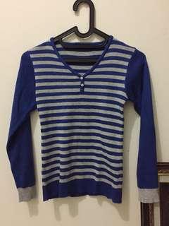 Grey Blue Stripes Knit