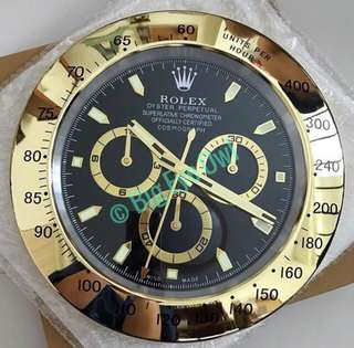Rolex Clock Black Face Daytona Gold
