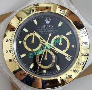 Rolex Wall Clock - Daytona Gold (Black Faced)