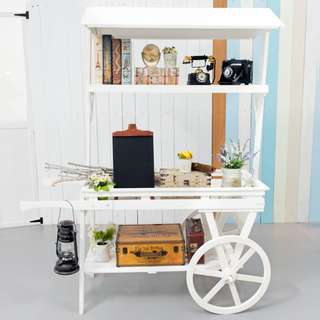 Large Wooden Push Cart (White) **RENTAL** Wedding / Events Props & Deco