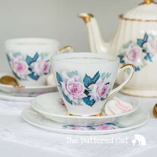 Pretty vintage English bone china trio with pale pink roses