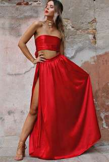 Sisters the Label Satin Silk Set in Rouge for HIRE