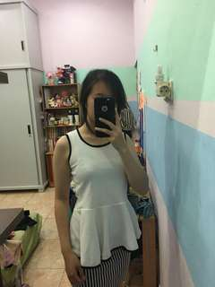 Baju Pesta / Dress / Polos Putih / Stripes / Two Pieces Outfit / Baju Wanita / Sepasang