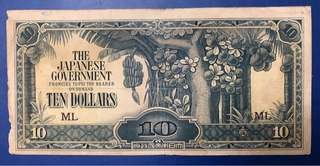 1942 $10 Japanese Government Occupation Malaya Block ML